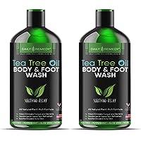 Antifungal Tea Tree Oil Body Wash - Made in USA - Helps Treat Eczema, Ringworm, Body Odor, Jock Itch, Acne, Toenail Fungus & Athlete - Best Antibacterial Soap For Skin Irritations. (2 Pack)