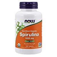 NOW Supplements, Certified Organic, Spirulina 1000 mg (Double Strength), Rich in Beta-Carotene (Vitamin A) and B-12 with naturally occurring GLA , 120 Tablets