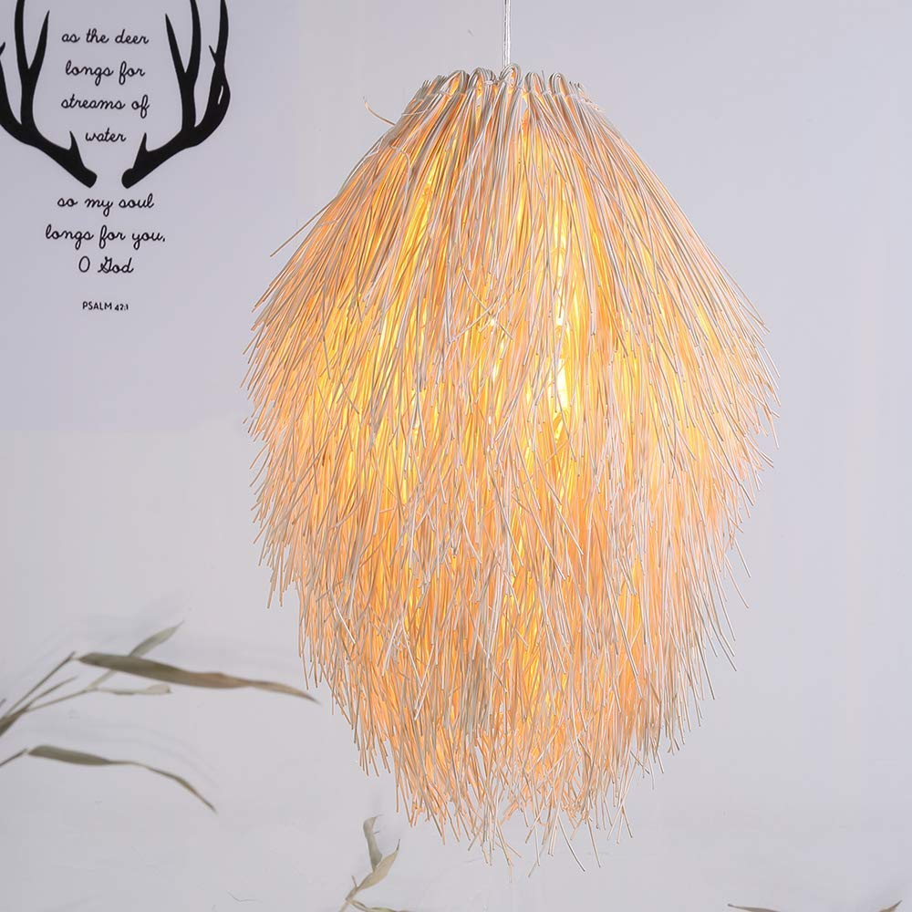 Arturesthome Creative Rattan Lighting, Handicraft Wicker Lighting, Natural Color Woven Light Shades, Suspension Luminaire Rotin