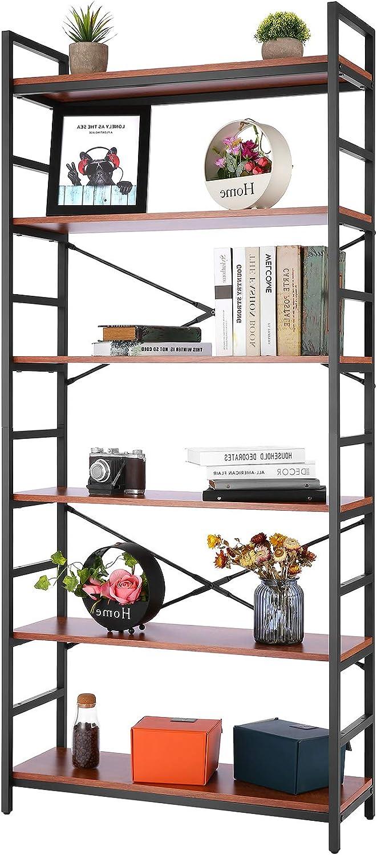 Devo Storage Shelves, 6 Tier Vintage Bookcase Wood Etagere Storage Shelf Organizer, Industrial Tall Standing Bookshelf for Home Office,Modern Open Shelving Unit Metal Rack Shelves for Kitchen Bathroom