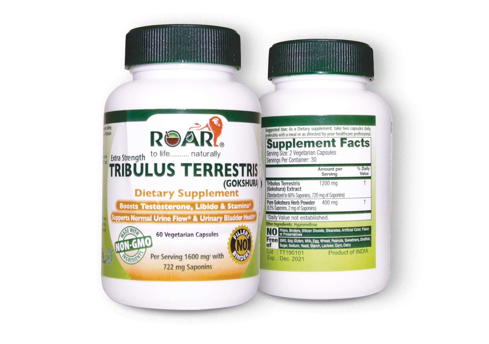 Roar Max Strength Tribulus Terrestris (Gokshura) 1600mg Vegetarian Capsules (722 mg Saponins) for Libido, Stamina & Male Energy with Urinary Support.