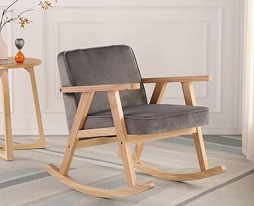 Guyou Modern Upholstered Wood Rocking Chair Velvet Nursery Rocker Lounge Arm Chair Single Sofa Review