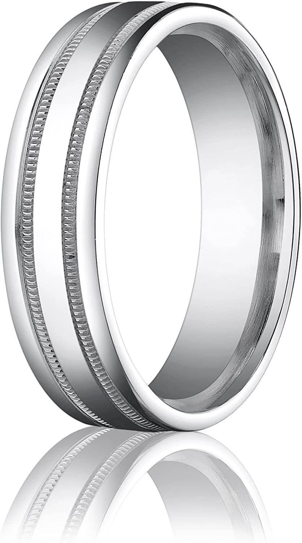 Mens 10K White Gold 6mm Comfort Fit Polished Bevel Edge Wedding Band Ring