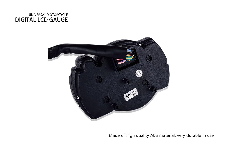 BSK Universal Motorcycle Digital LCD Odometer Speedometer Tachometer Gauge 15000 RPM MPH 199 km//h
