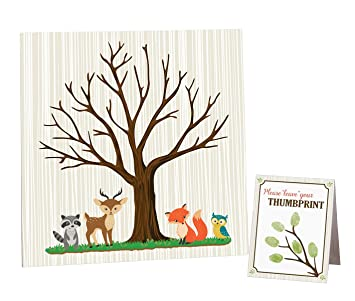 Lillian Rose Woodland Baby Shower Guest Signing Canvas, Neutral, 11.75u0026quot;