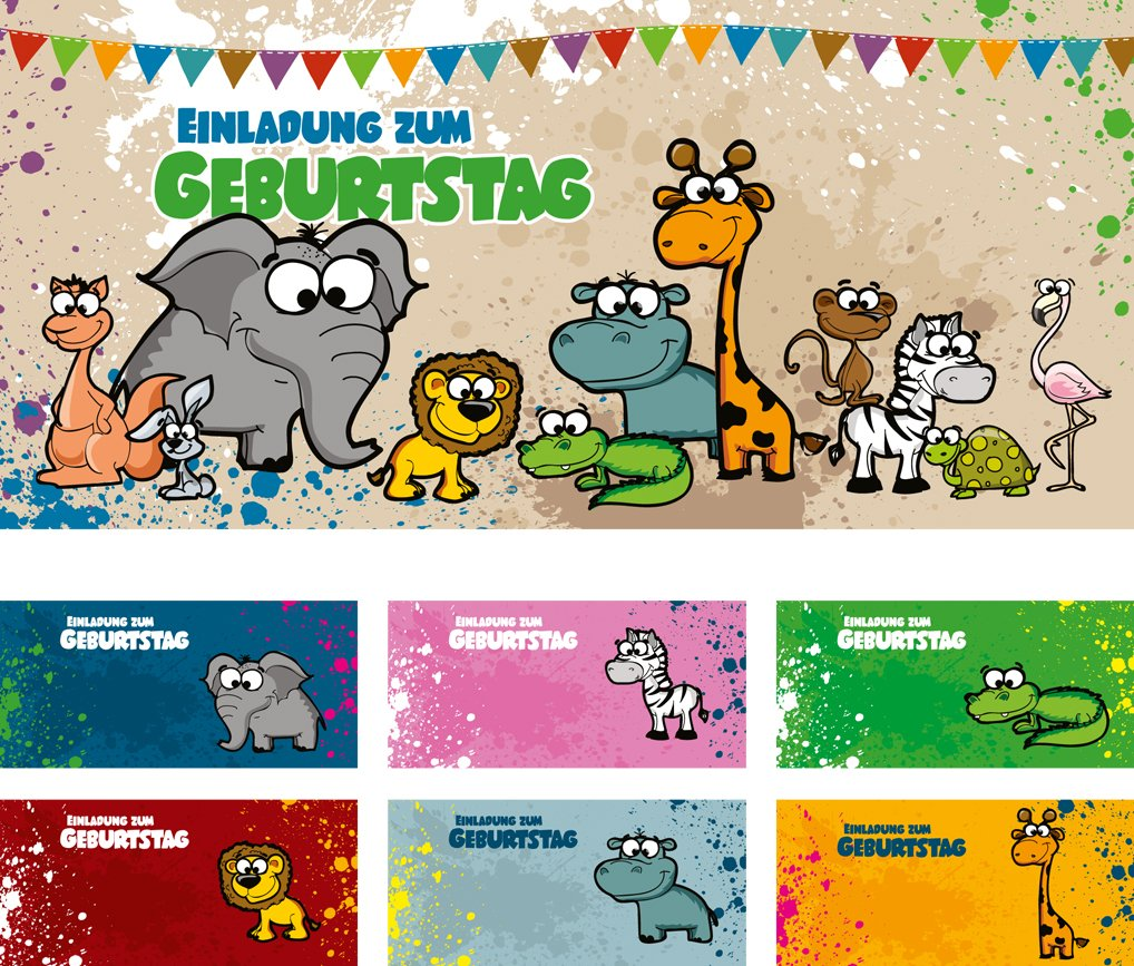 12 Briefumschläge Mit Unterschiedlichen Tieren) | Geburtstagseinladungen Einladungen  Geburtstag Party Kinder Jungen Mädchen: Amazon.de: Bürobedarf U0026 ...