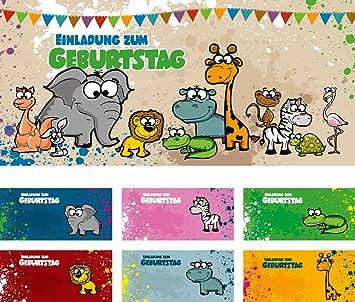 Set: 12 Einladungskarten Kindergeburtstag U201eSafariu201c (inkl. 12 Briefumschläge  Mit Unterschiedlichen Tieren