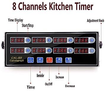LI Bai 8 canales temporizador digital de cocina reloj recordatorio hamburguesa Cooking Timming Loud Alarma temporizadores de acero inoxidable calculagraph ...