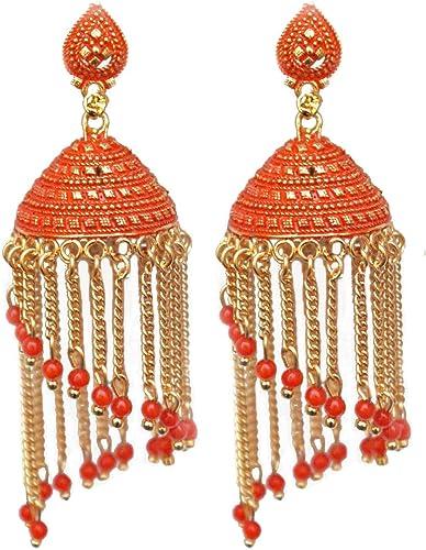Amazon Com Pahal Traditional Faux Pearl Long Chain Big Gold