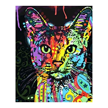 Cuadro de lienzo con pintura al óleo digital para gatos, paisaje, de la marca Trendyest: Amazon.es: Bricolaje y herramientas