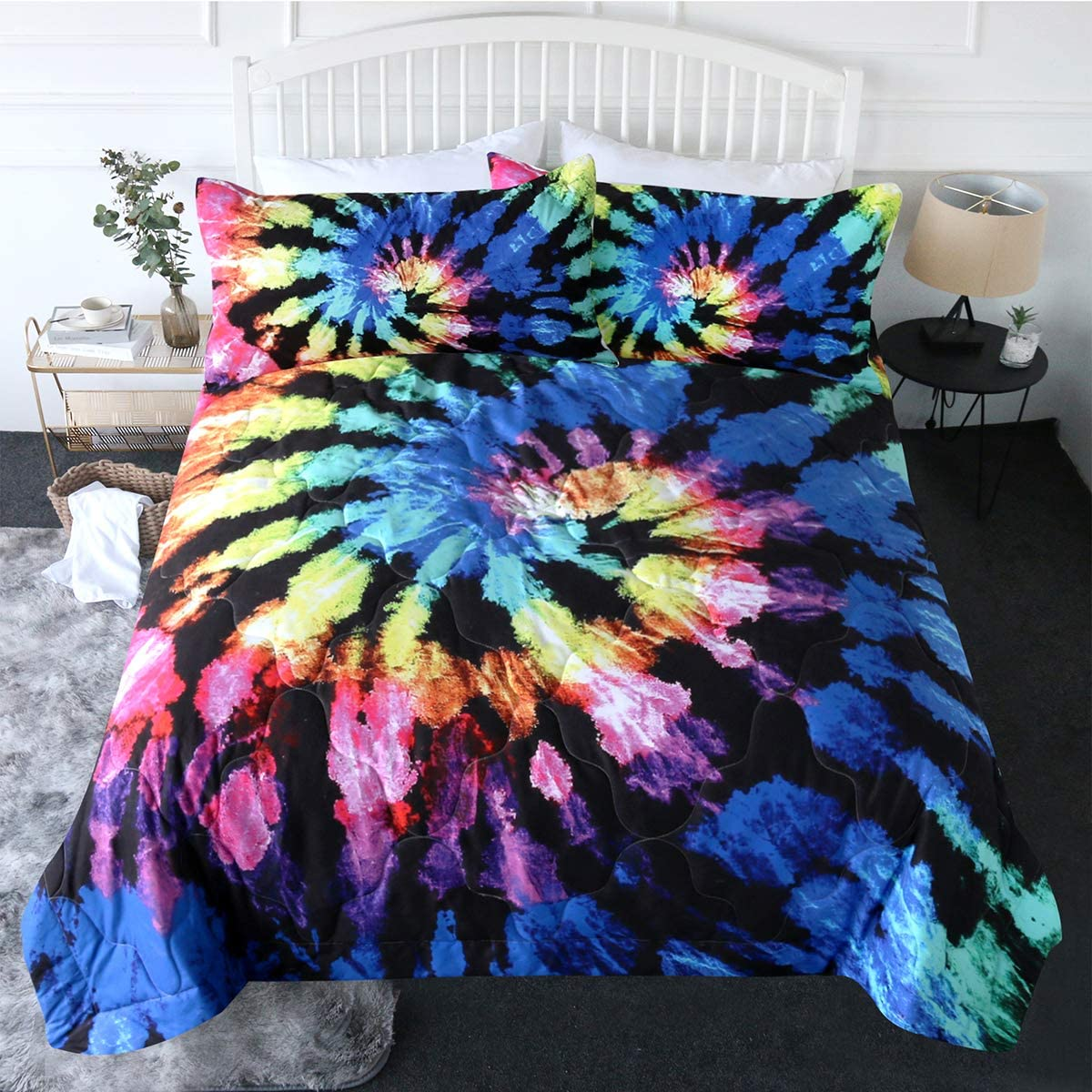 BlessLiving 3 Piece Tie Dye Comforter Set with Pillow Shams Bedding Set 3D Printed Reversible Comforter Twin Size Bedding Sets Soft Comfortable Machine Washable, Blue Purple Gypsy Hippie Decor