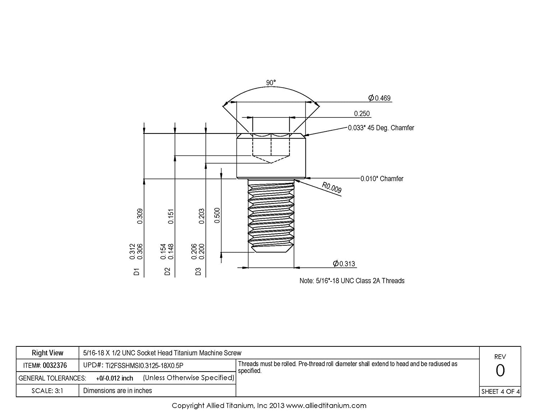 609664001 5//16-18 X 1//2 UNC Socket Head Titanium Machine Screw CP Inc Allied Titanium 0032376, Grade 2 Pack of 12