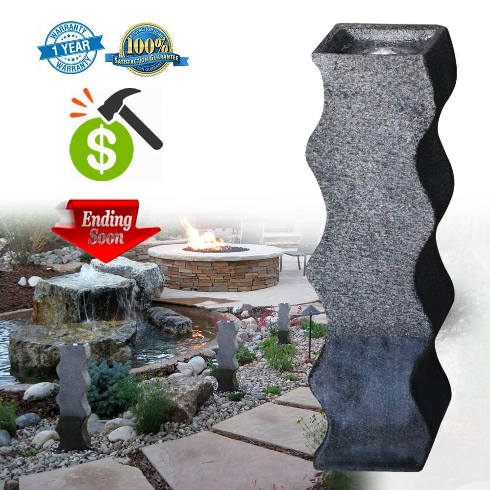 Decor Outdoor Fountain Modern Cast Stone Simple Curved Shape Column Decoration  Water Fountain For Garden/Patio/Couryard 35.5u0027