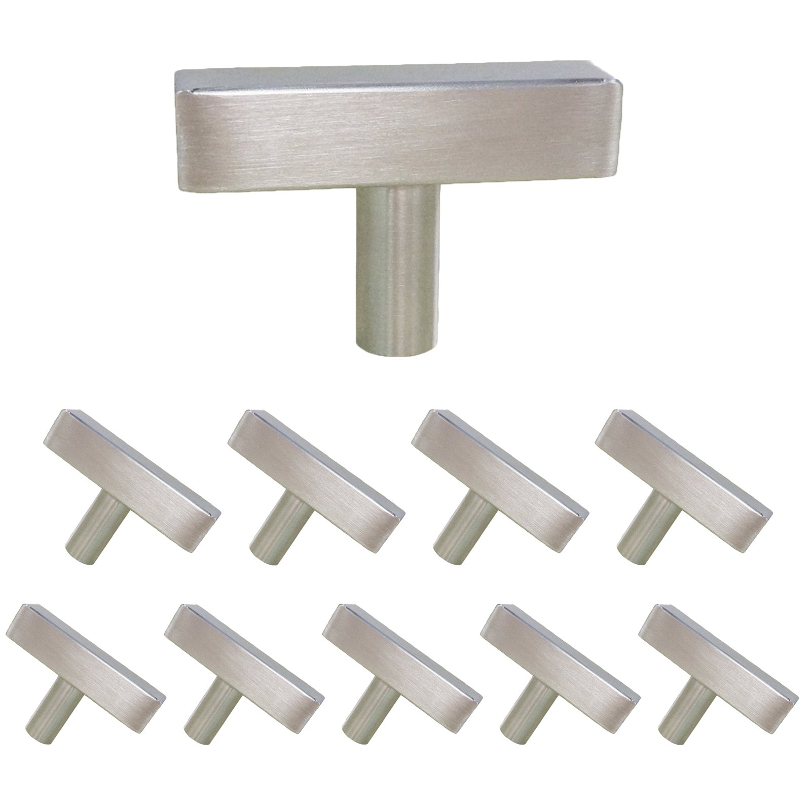 Square Single Hole Cabinet Pulls and Knobs Brushed Nickel Stainless Steel 10 Pack-Homdiy HDJ22SN 2in 50mm Length T Bar Kitchen Cabinet Door Handles