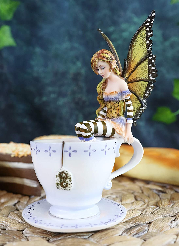 "Ebros Gift Amy Brown Teacup Mocha Coffee Fairy Figurine Whimsical Faerie Figure 6.5"" H Statue Decor Pixies Sprites Fairies and Magic"