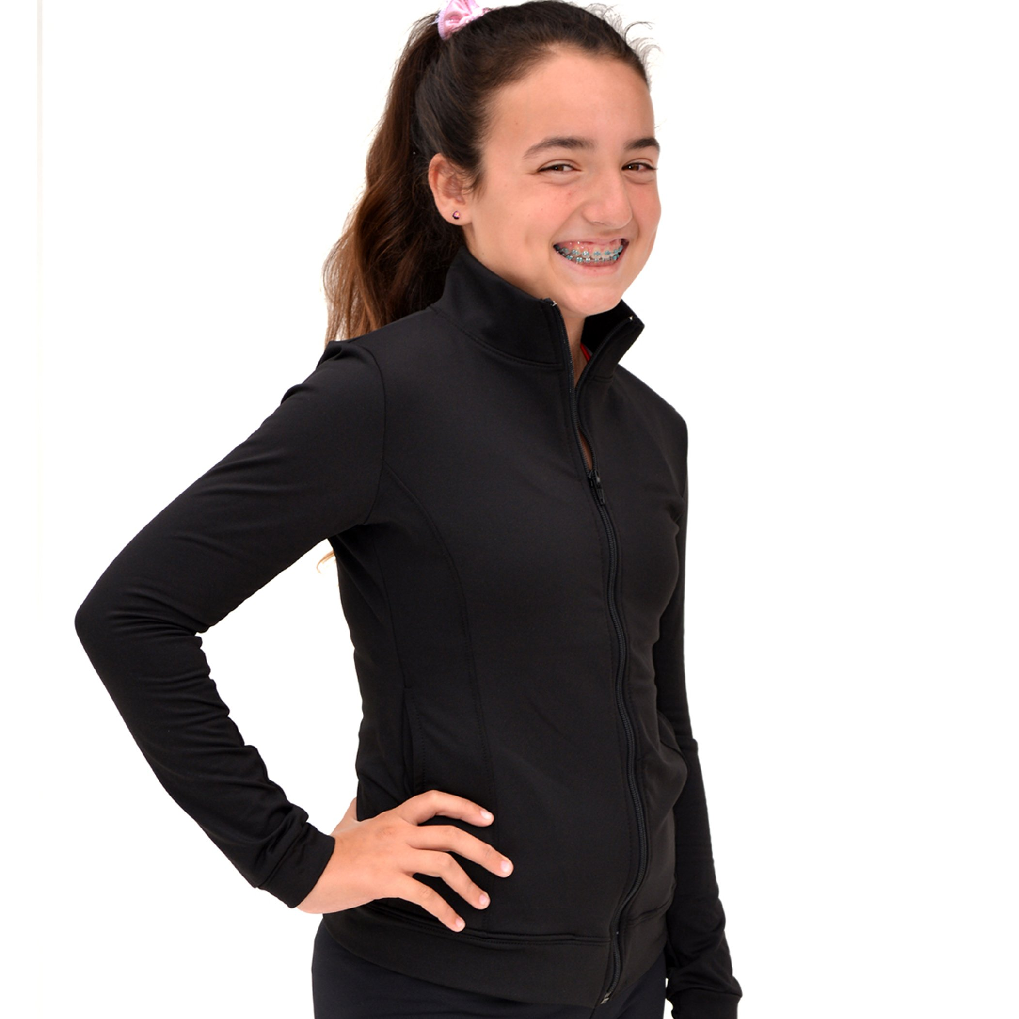 Stretch is Comfort Girl's Cotton Warm up Jacket Black Large