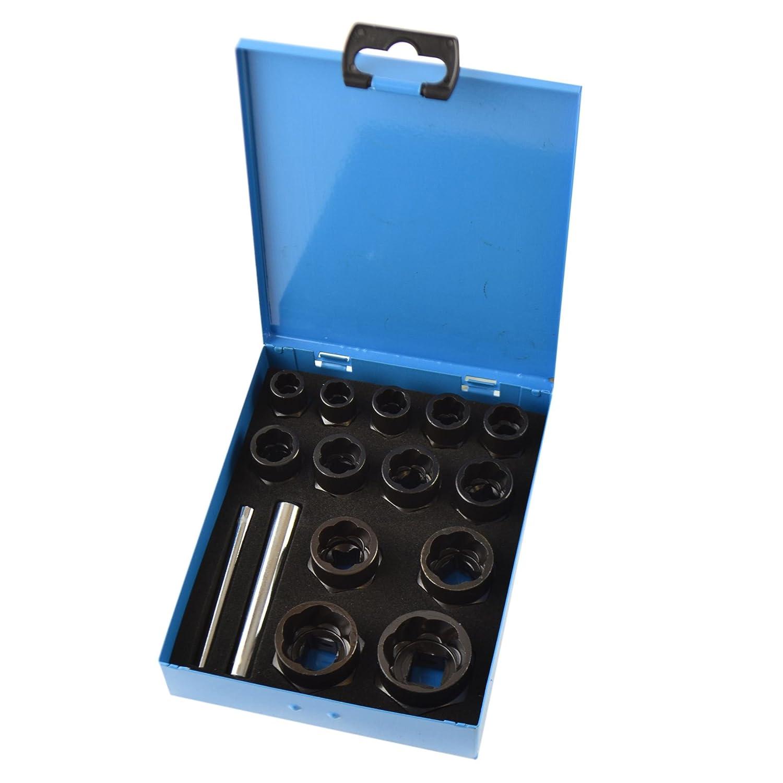 "15pc 3/8"" ½"" Dr Bolt Nut Twist Socket Wheel Lock Nut Remover Extractor 9-27mm AB Tools"