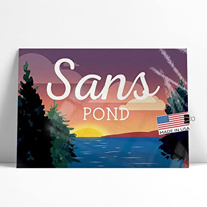 Amazon com: NEONBLOND Large Poster Lake Retro Design Sans
