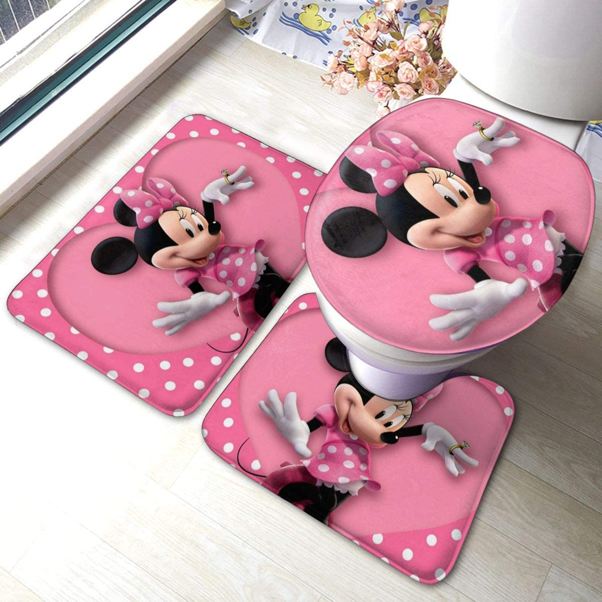 Rainbow Fart Cartoon Mickey Minnie Mouse Bathroom Mat 3-Piece Set, Bathroom U-Shaped Contour Mat/Floor Mat/Toilet Cover Bathroom Carpet Cover, Soft Non Anti-Slip Mats Carpet Bathroom Mat Cover