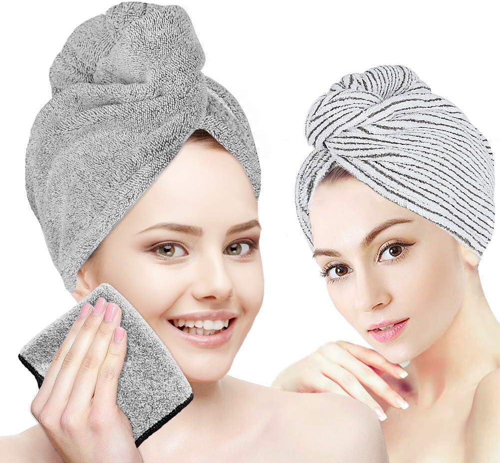 2 Pack Organic Bamboo Hair Drying Towel Cap Wrap Bath Shower Head Turban