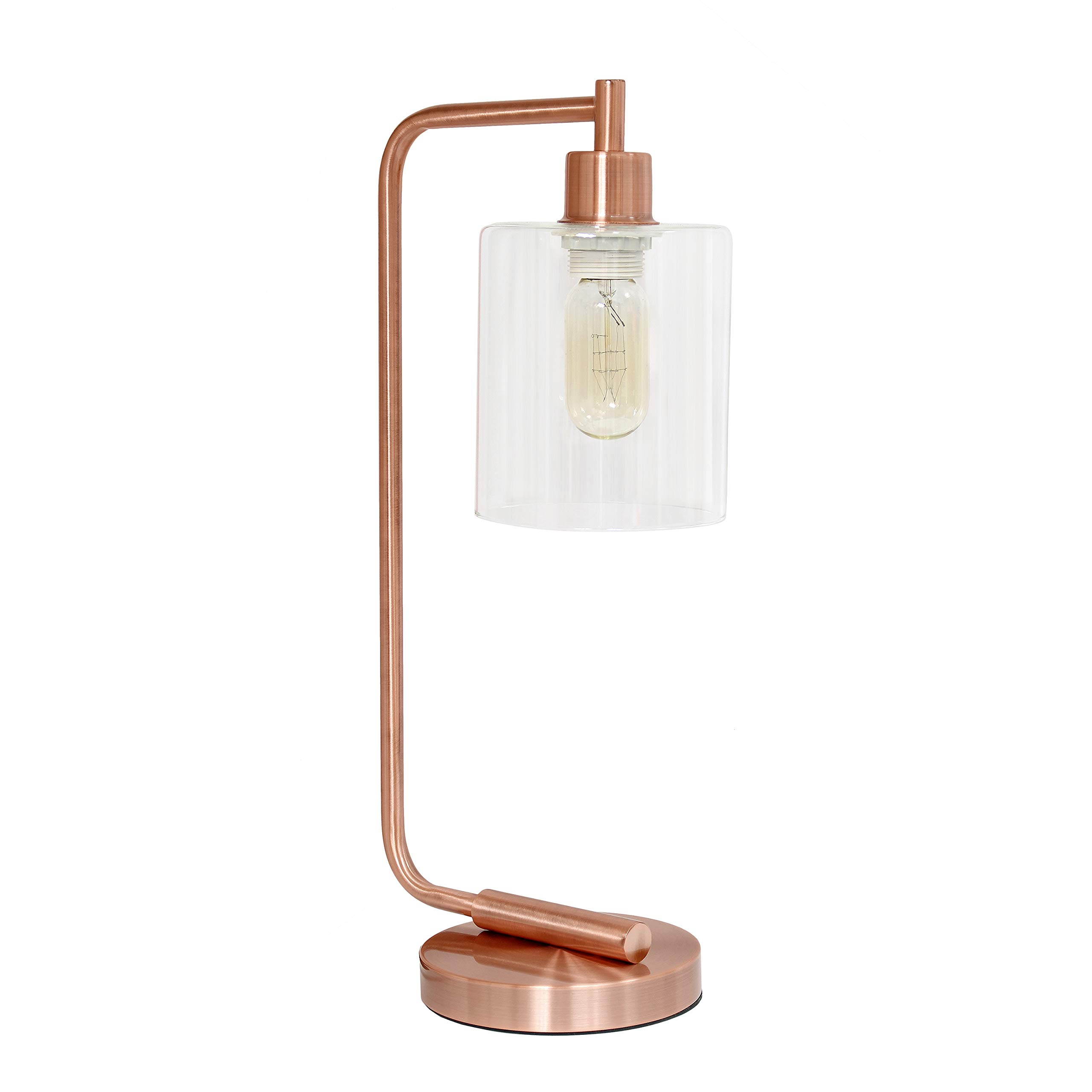 Simple Designs LD1036-RGD Bronson Antique Style Industrial Iron Lantern Glass Shade Desk Lamp, Rose Gold