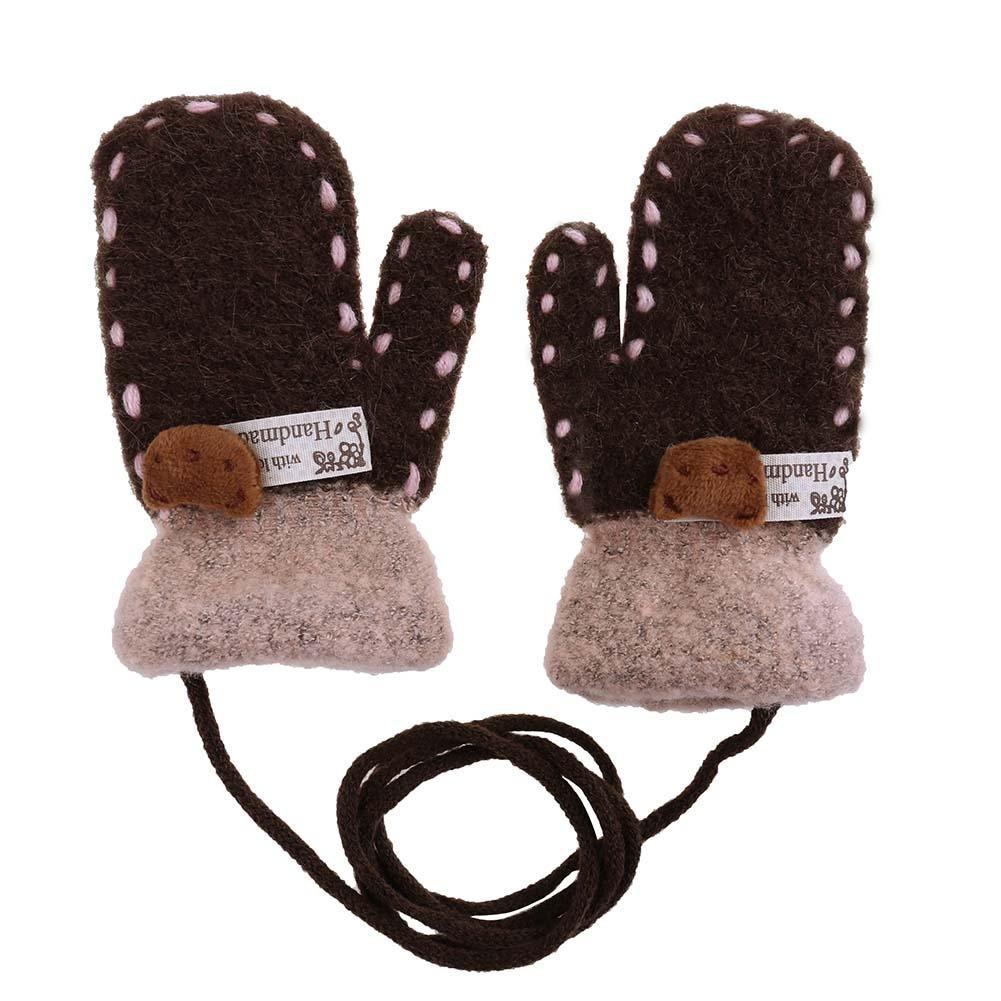 Domybest Winter Warm Baby Cartoon Bear 3D Children Knitted Stretch Thicken Gloves