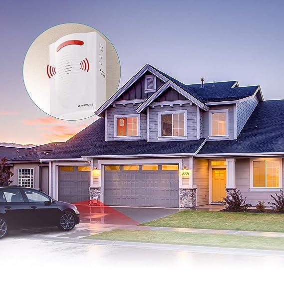 Navaris sistema de alarma inalámbrico - Alarma antirrobo con sirena y luces - Alarma de casa con sensor de movimiento PIR - Con mando a distancia: ...