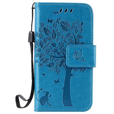 Nancen Compatible with Handyhülle iPhone 4 / 4S Flip Schutzhülle Zubehör Lederhülle mit Silikon Back Cover PU Leder Handytasc