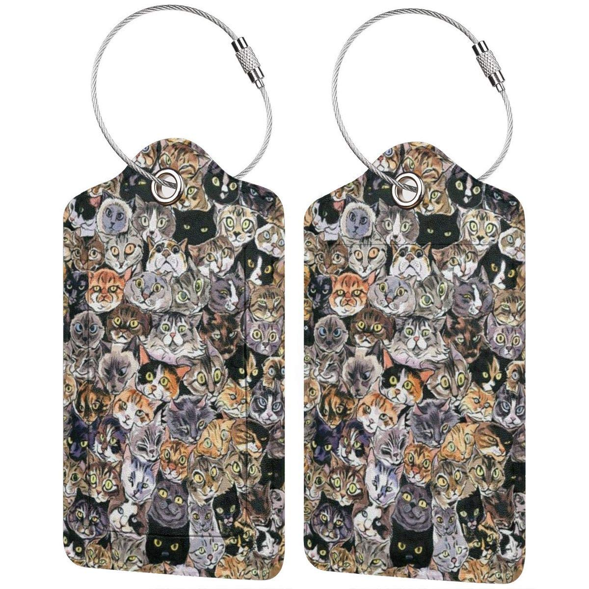 Cat Printing Luggage Tags With Full Back Privacy Cover W//Steel Loops
