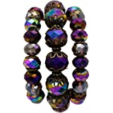 Rosemarie Collections Women's Semi Precious Stone Beaded Stretch Statement Bracelet Set of 3 Purple