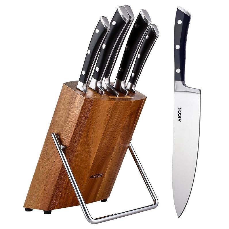 Aicok Ensemble de couteaux professionnels avec bloc en bois ...