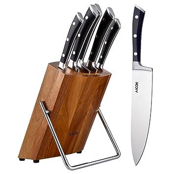 aicok set di coltelli da cucina con legno ceppo acciaio inossidabile 6 pezzi