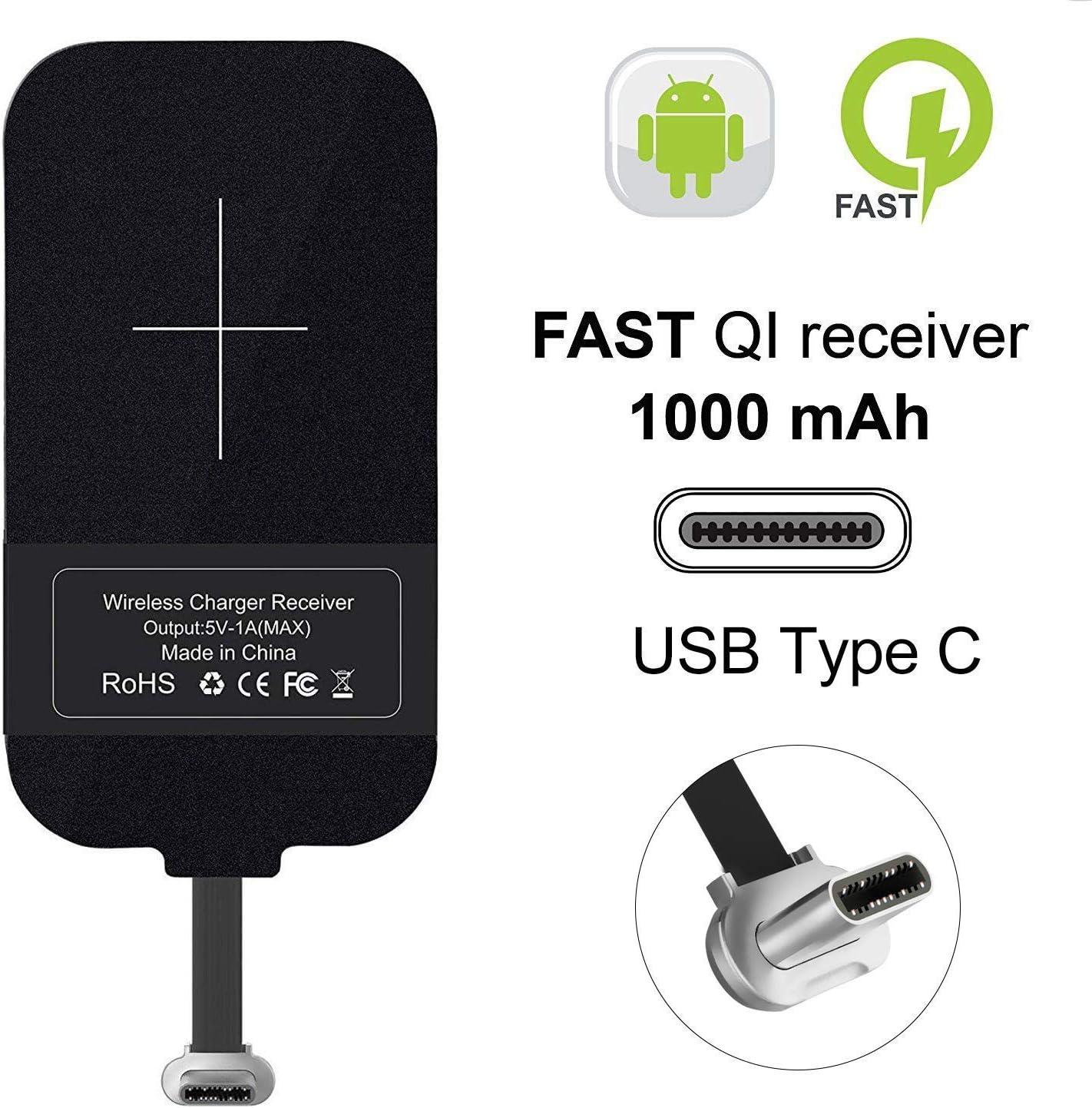 NILLKIN Tipo C Qi Receptor de Carga inalámbrico, Ultra Slim USB C Qi Receptor de Chip inalámbrico Receptor para Google Pixel XL/LG V20 / HTC 10 / OnePlus 3 y Otros teléfonos de Gran tamaño Tipo C