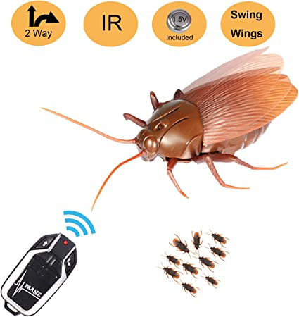 Infrared Remote Control Realistic Mock Fake Cockroach RC Toy Prank Insects Roach