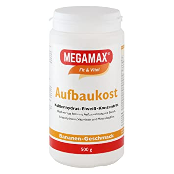 MEGAMAX - Aufbaukost - Suplemento para ganar peso y masa muscular - Plátano - Solo un 0,5% de grasa - 500 g: Amazon.es: Deportes y aire libre