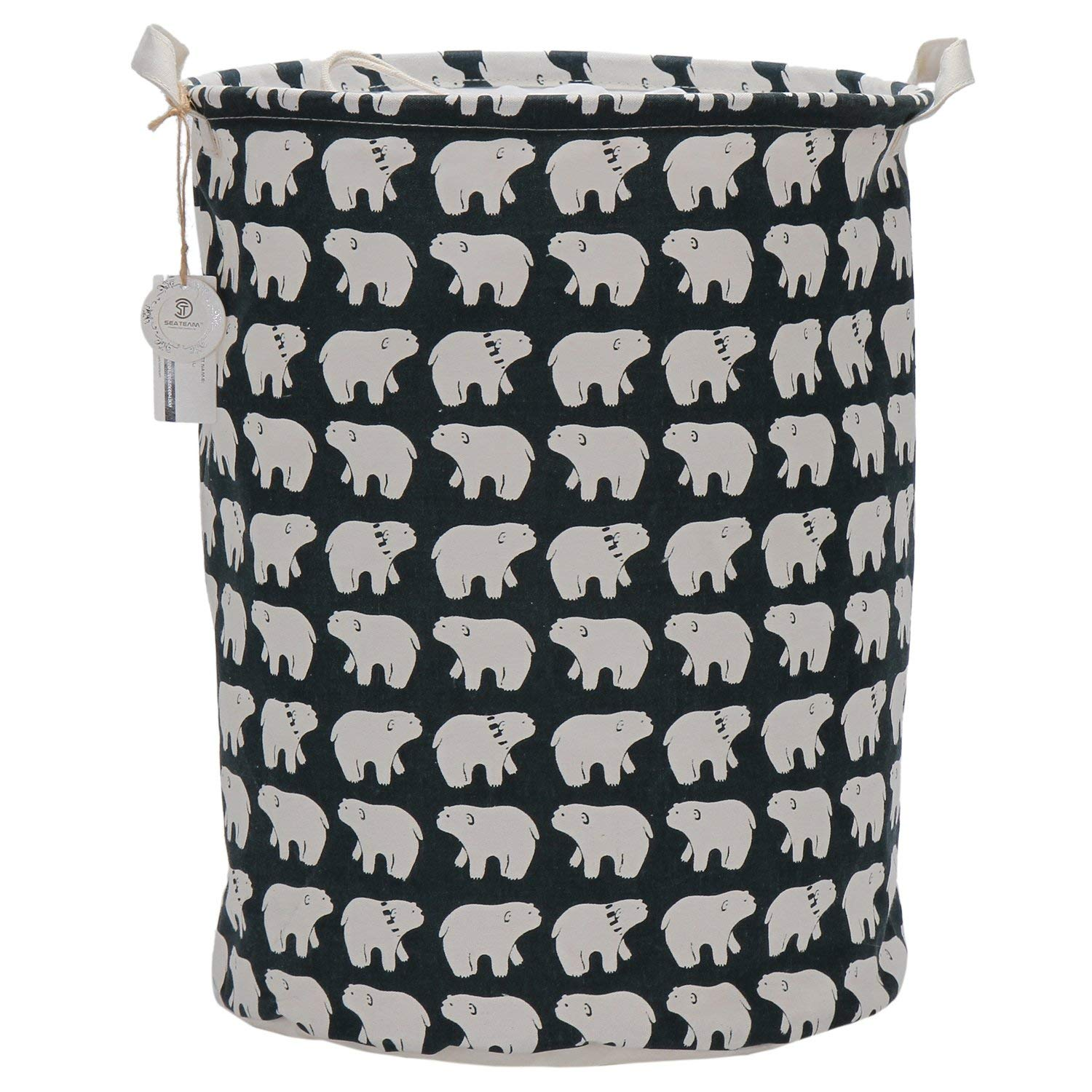 "Sea Team 19.7"" x 15.7"" Large Sized Folding Cylindric Waterproof Coating Canvas Fabric Laundry Hamper Storage Basket with Drawstring Cover, Polar Bear"