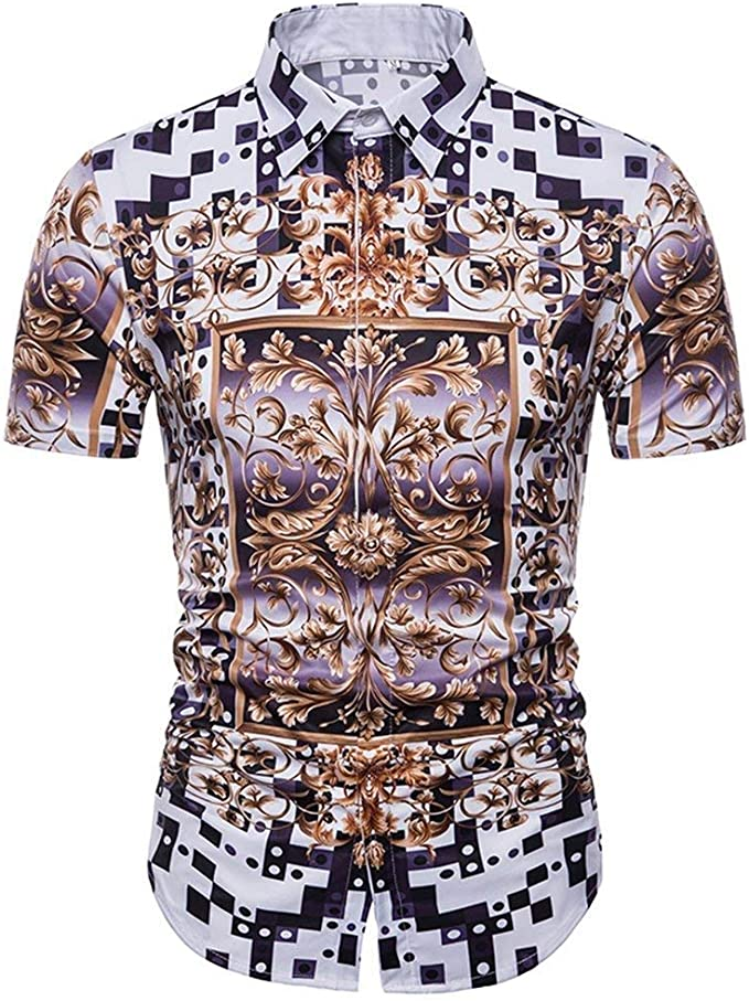 Camisas para Hombre De Cuadros Casuales De Impresión Floral 3D De Clásico Manga Corta con Botones Polo Camisas De Moda De Época De Gran Tamaño Tops Chicos: Amazon.es: Ropa y accesorios
