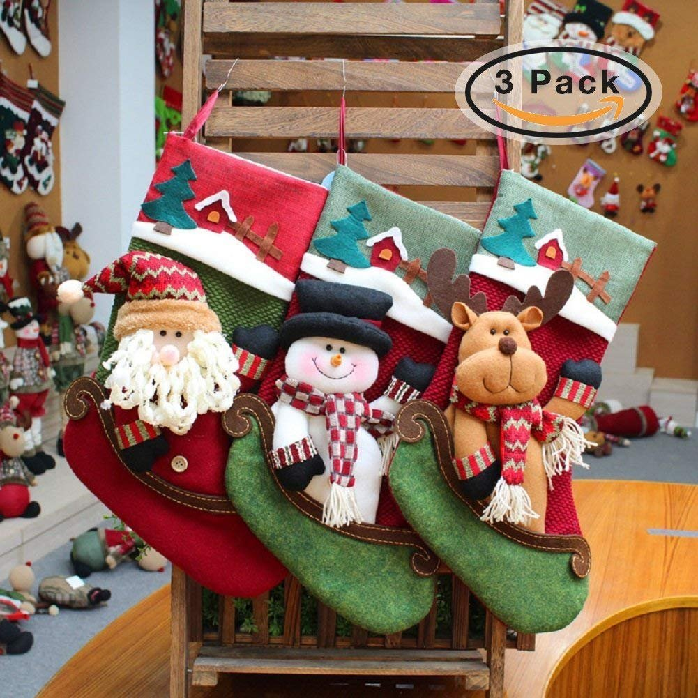 Classical Christmas Stockings, Cute Socks Hanging in Xmas Tree Home Restaurant Hotel Decorations and Party Supplies, 17 Inch Large Size Burlap Stuffed Toys Candy Gift Bag Holders for Kids (3 Pack)