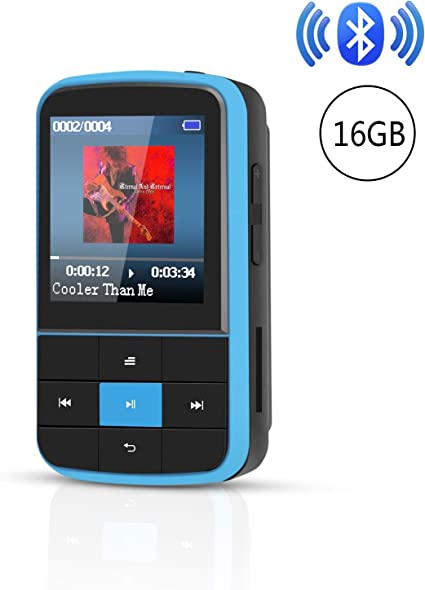 AGPTEK MP3 Player Bluetooth 4.0 16GB with Clip FM Radio Portable for Sport Blue