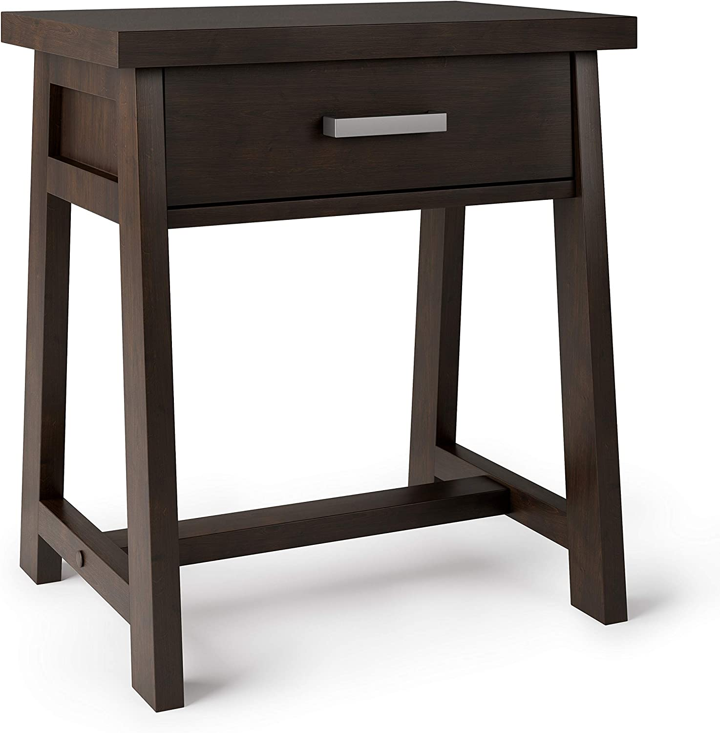 SIMPLIHOME Sawhorse SOLID WOOD 24 inch Wide Modern Industrial Bedside Nightstand Table in Dark Chestnut Brown