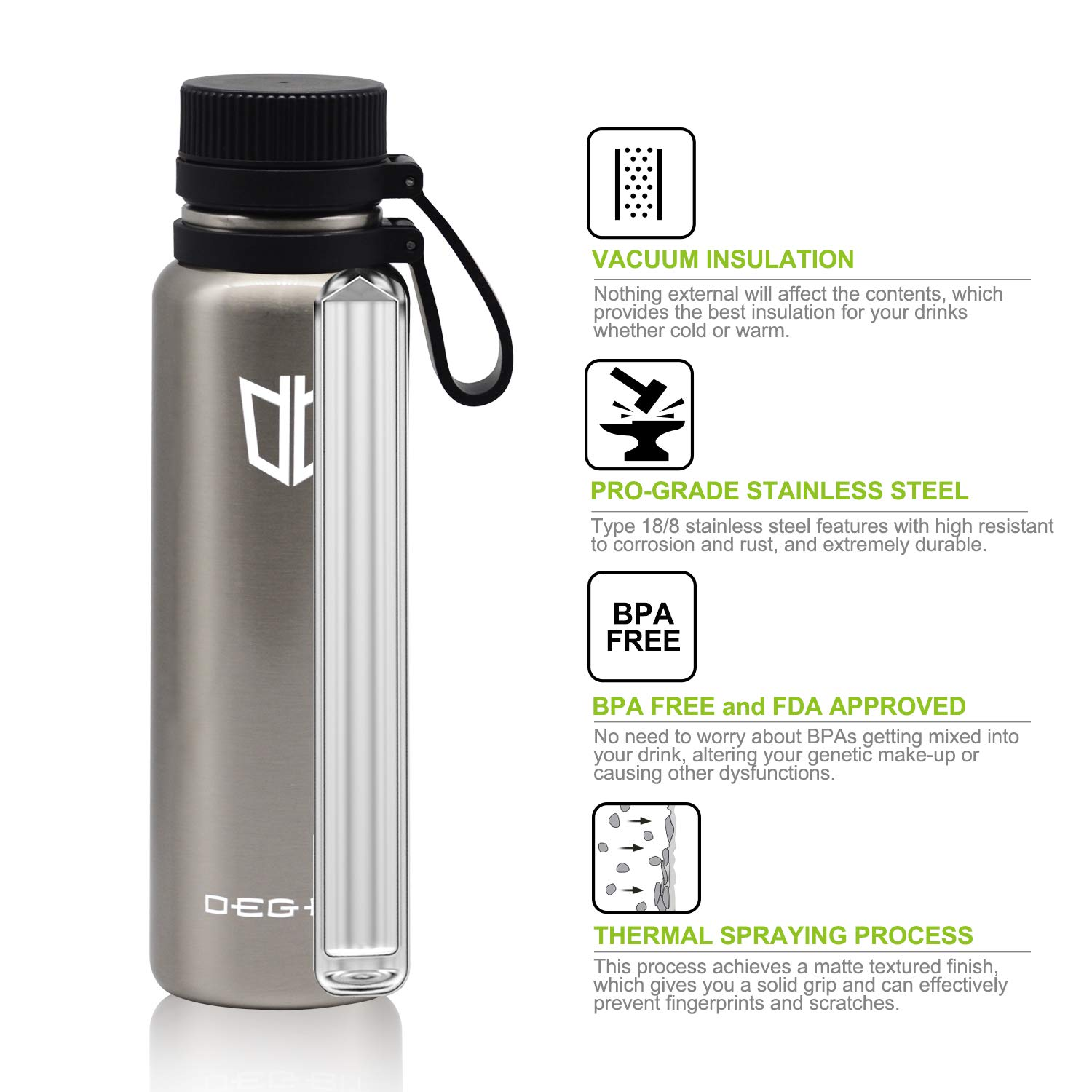 4fedc50c49 Amazon.com : DB DEGBIT Up to 20 Hrs Cold Vacuum Insulated 18/8 Food Grade  Stainless Steel Leak Proof Sports Water Bottle, Scratch Resistant &  Non-Slip ...
