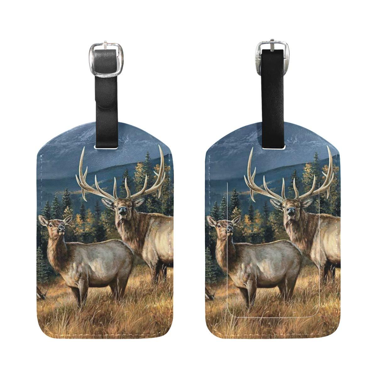 Set of 2 Luggage Tags Wapiti Elk Animal PaintingSuitcase Labels Travel Accessories