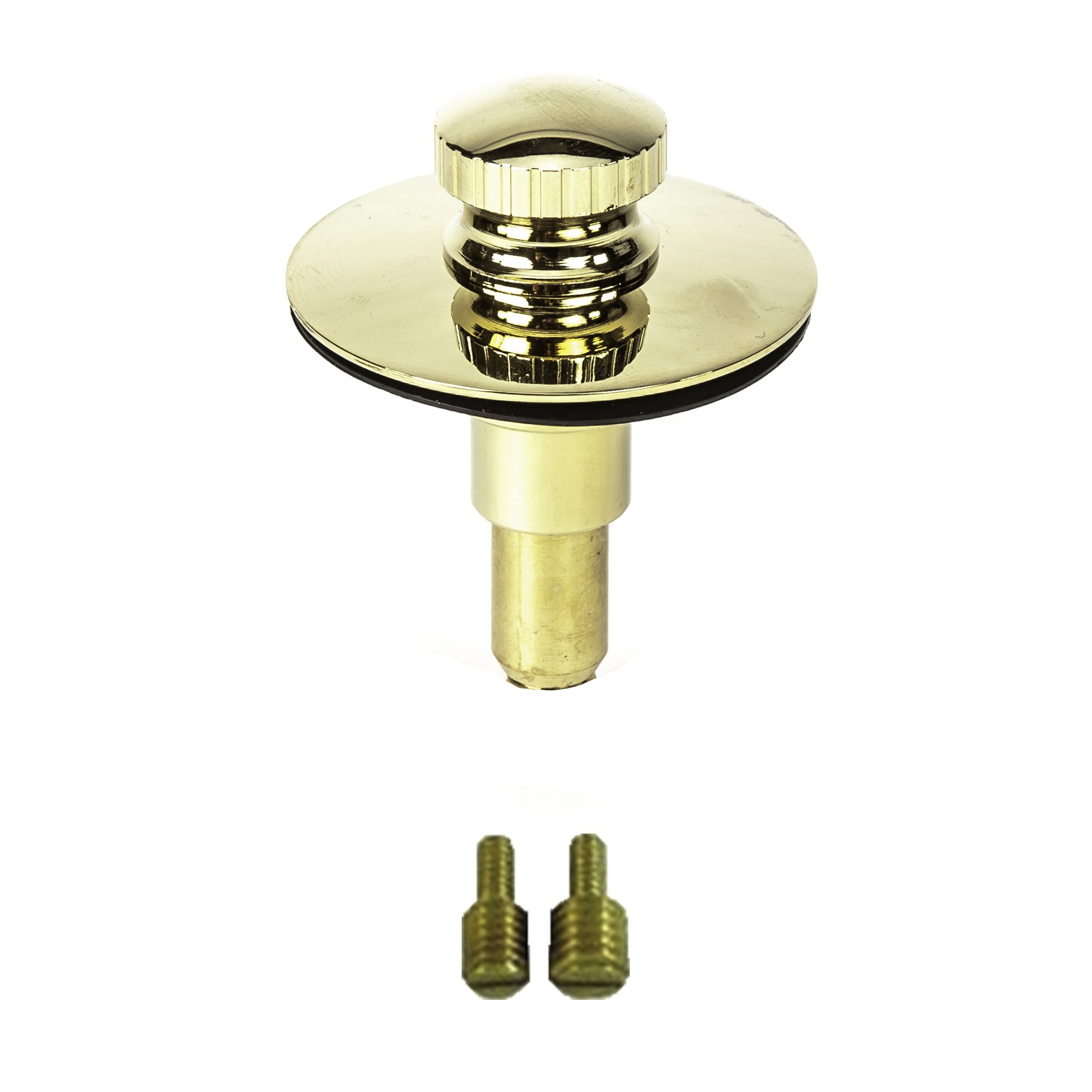 PF WaterWorks Universal Lift n Lock (Push Pull) Bath Tub/Bathtub Drain Stopper includes 3/8'' and 5/16'' Fittings; Polished Brass; PF0955-PB-LL-S