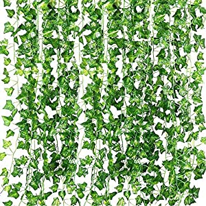 QC Life 84 FT Artificial Ivy Fake Greenery Leaf Garland Plants Vine Foliage Flowers Hanging for Wedding Party Garden Home Kitchen Office Wall Decoration(12 Pack) 10