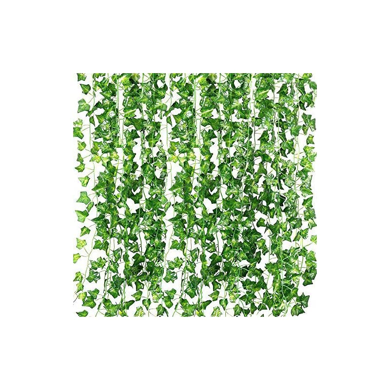 silk flower arrangements recutms 84 ft artificial ivy fake greenery leaf garland plants vine foliage flowers hanging for wedding party garden home kitchen office wall decoration(12 pack)