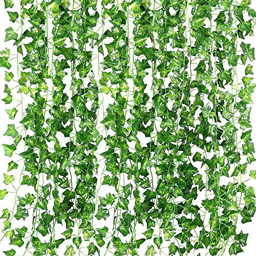 (QC Life 84 FT Artificial Ivy Fake Greenery Leaf Garland Plants Vine Foliage Flowers Hanging for Wedding Party Garden Home Kitchen Office Wall Decoration(12 Pack))