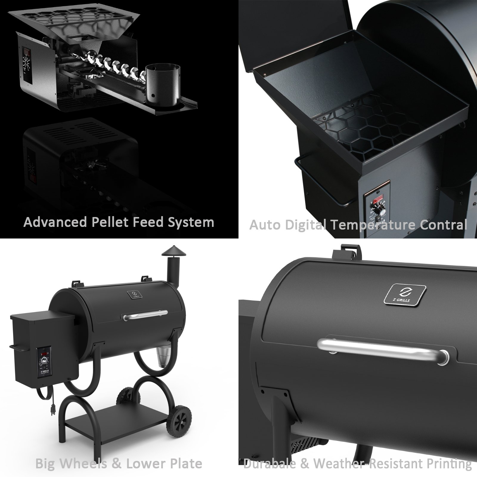 Z GRILLS ZPG-550B 2019 Upgrade Model Wood Pellet Grill & Smoker 6 in 1 BBQ Grill Auto Temperature Control, 550 sq Inch Deal, Black by Z GRILLS (Image #3)
