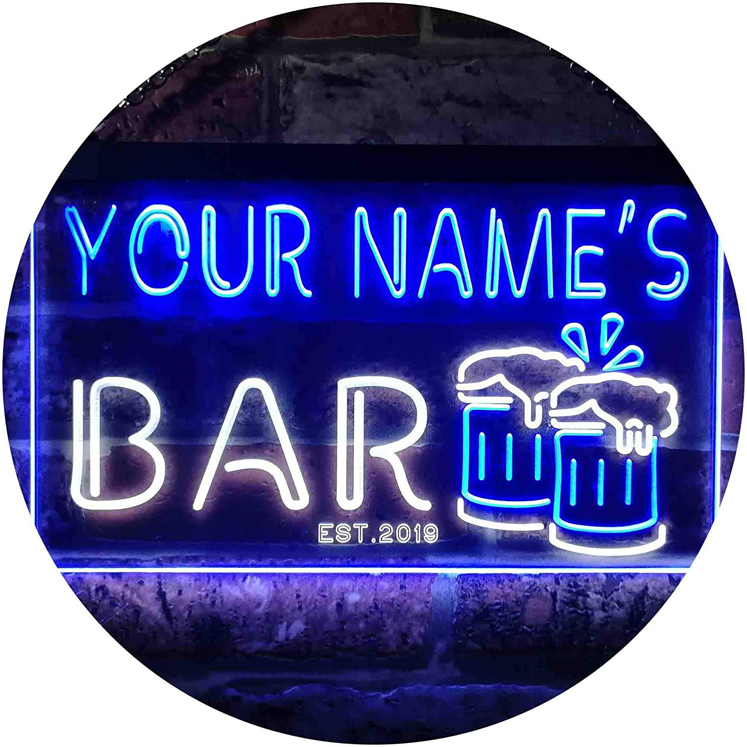 "ADVPRO Personalized Your Name Est Year Theme Bar Beer Mug Decoration Dual Color LED Neon Sign White & Blue 16"" x 12"" st6s43-w1-tm-wb"
