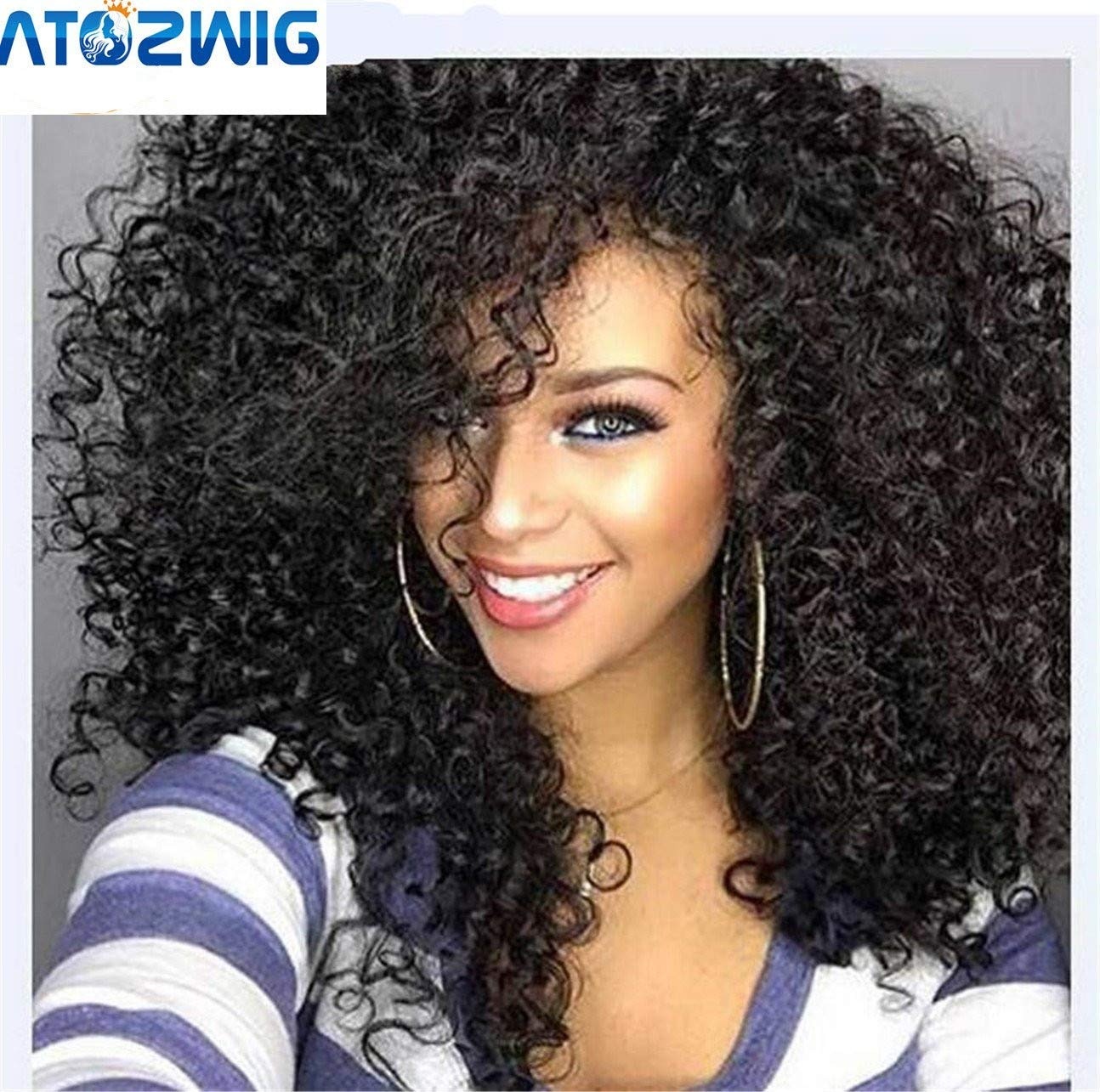 Amazon Com Atozwig Kinky Curly Afro Wig 22 Long Kinky Curly Wigs For Black Women Black Hair Wig African American Synthetic Cheap Wigs For Women Beauty