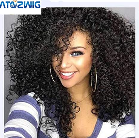 ATOZWIG Kinky Curly Afro Wig 22 Long Kinky Curly Wigs for Black Women Black  Hair Wig African American Synthetic Cheap Wigs for Women by ATOZWIG   Amazon.in  ... 7a11f45a846f